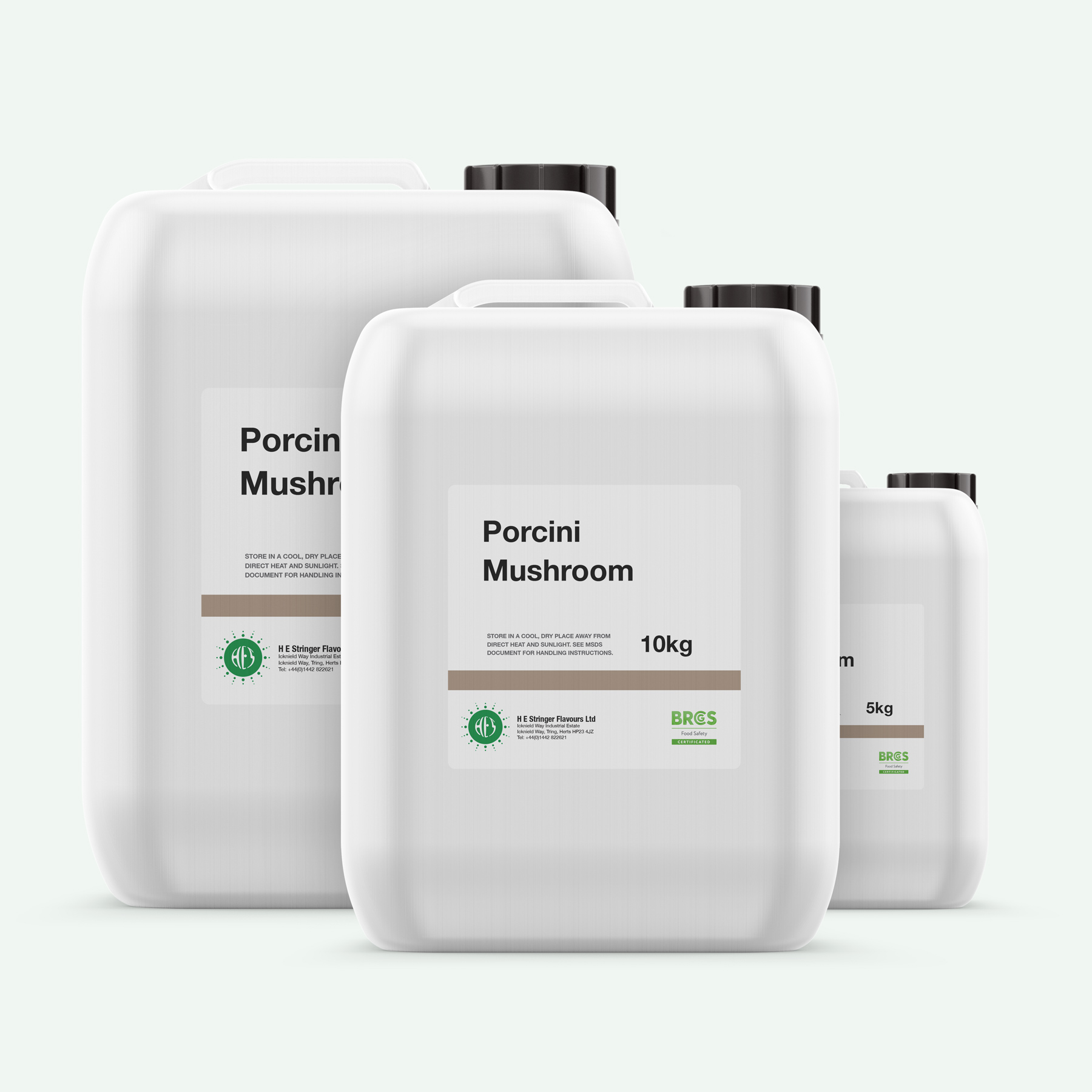 three jerrycans of porcini mushroom flavouring